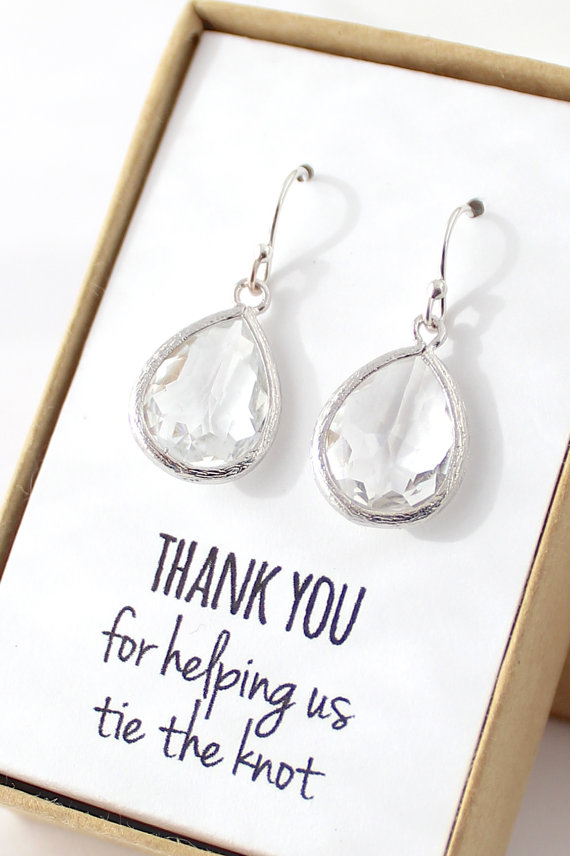 Mariage - Clear Crystal / Silver Teardrop Earrings - Crystal Bridesmaid Earrings - Bridesmaid Gift Jewelry - Crystal and Silver Earrings -EB1