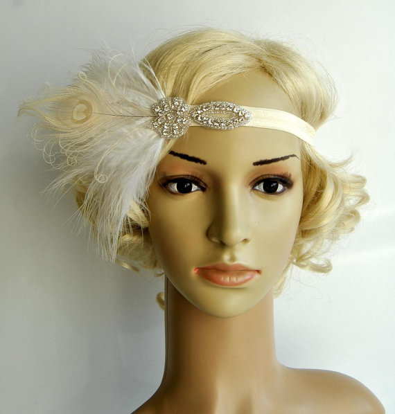 زفاف - Flapper Feather Headband,The Great Gatsby 1920s Flapper rhinestone Headband, Vintage Inspired,Feather, Art Deco headband