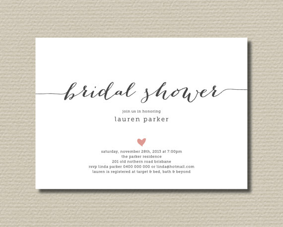 Printable bridal shower invitation simple and sweet love heart printable bridal shower invitation simple and sweet love heart design charcoal pink br109 stopboris Choice Image