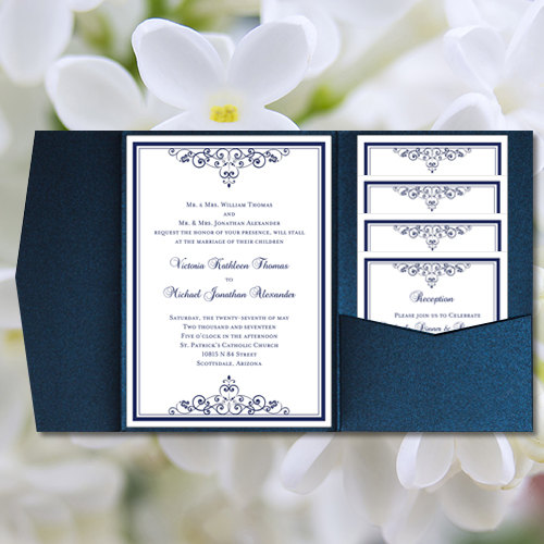 Diy Pocketfold Wedding Invitations Vintage Navy Blue Printable
