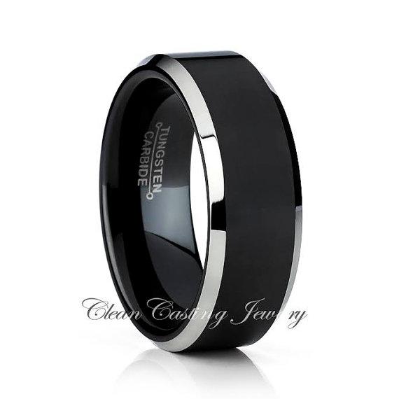 Mariage - Men's Tungsten Wedding Band,Men Tungsten Wedding Ring,Black Tungsten Band,Engagement Ring,Anniversary Ring,Comfort Fit,Beveled Edges,8mm,6mm