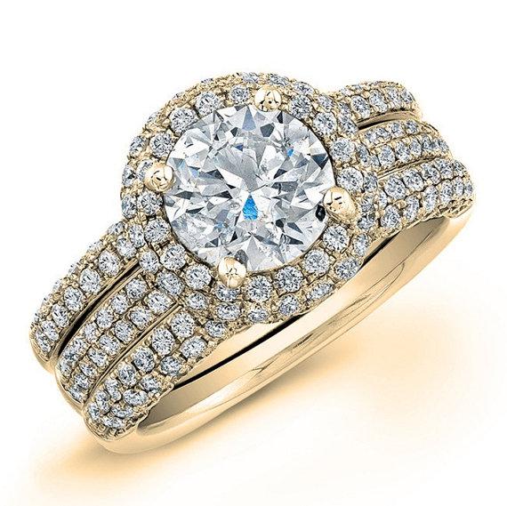 Mariage - 14k Yellow Gold Diamond Engagement Ring Set 2.00 ctw, Center Stone 0.50ctw Round Diamond G-SI2 Quality