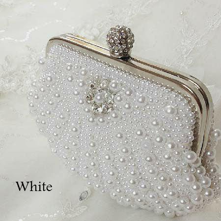 Mariage - Ivory or white pearl bridal clutch purse, wedding purse, bridal purse