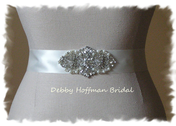 Mariage - Rhinestone Crystal Pearl Beaded Bridal Sash, Wedding Dress Belt, Wedding Sash, No. 4065S1.5, Made to Order, Bridal Accessories, Belts,Sashes