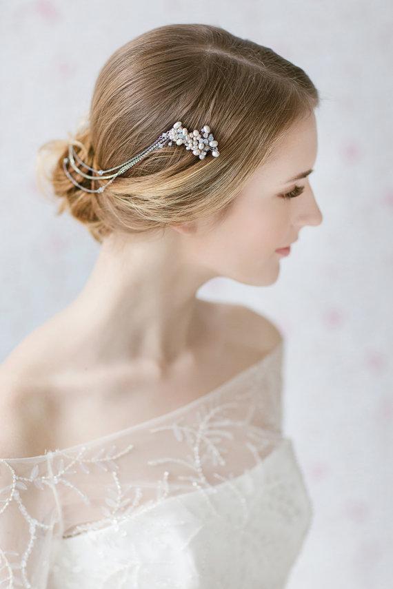 Bridal Hair Chain ,Wedding Headpiece, Wedding Hair Wrap , Opal ...