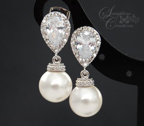 Свадьба - Bridal Pearl Earrings Wedding Jewelry Swarovski Pearls Cubic Zirconia Teardrop Bridesmaid Gift White Ivory/Cream Round Dangle