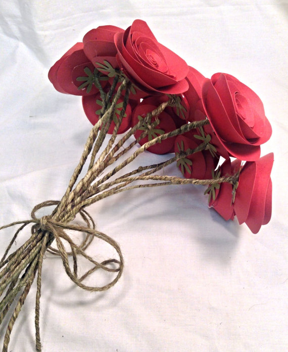 Paper Roses Valentines Day Roses Red Roses Wedding Centerpeices