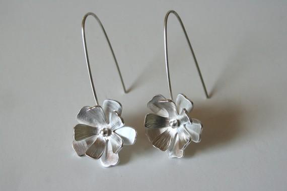 Mariage - Fancy Silver Flower Hanging Earrings, Bridal Earrings, Bridesmaid Earrings, Gift For Her, 925 Silver, Handmade Earrings, Silver Earrings