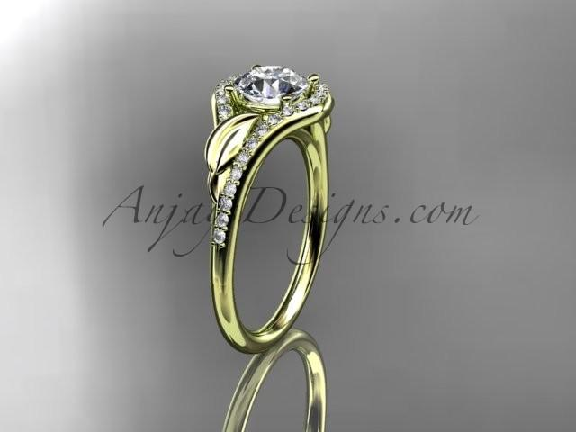 "Wedding - 14kt yellow gold diamond leaf wedding ring, engagement ring with a ""Forever Brilliant"" Moissanite center stone ADLR334"