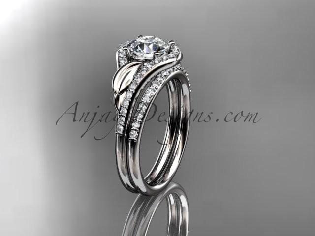 Свадьба - 14kt white gold diamond leaf wedding set, engagement set ADLR334