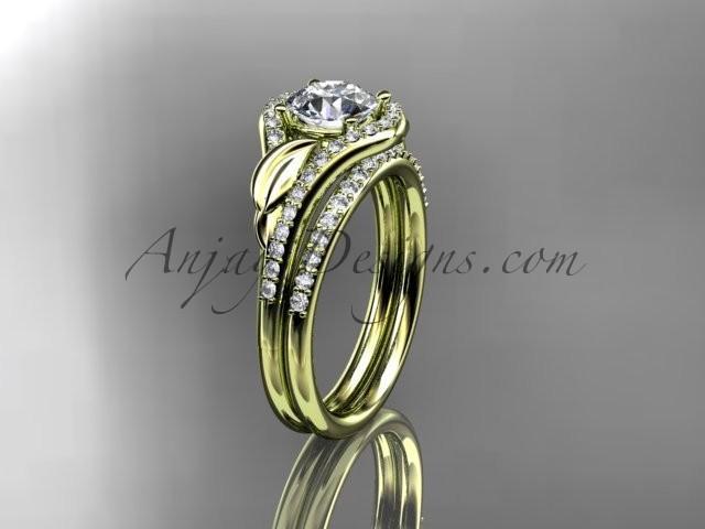 Boda - 14kt yellow gold diamond leaf wedding set, engagement set ADLR334