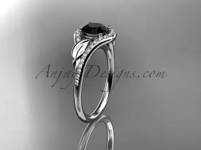 Wedding - Platinum diamond leaf wedding ring, engagement ring with a Black Diamond center stone ADLR334