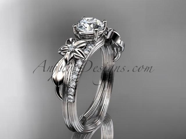 "Wedding - Platinum diamond leaf and vine wedding ring, engagement ring with a ""Forever Brilliant"" Moissanite center stone ADLR331"