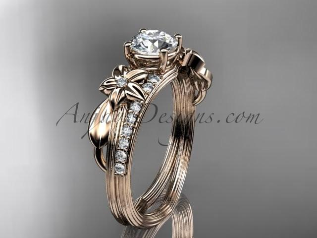 """Hochzeit - 14kt rose gold diamond leaf and vine wedding ring, engagement ring with a """"Forever Brilliant"""" Moissanite center stone ADLR331"""