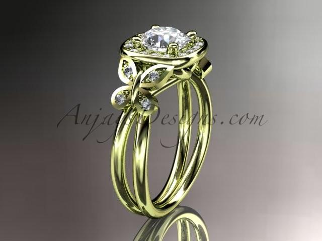 """Wedding - 14kt yellow gold diamond unique butterfly engagement ring, wedding ring with a """"Forever Brilliant"""" Moissanite center stone ADLR330"""