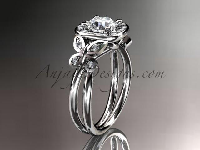 Wedding - Platinum diamond unique butterfly engagement ring, wedding ring ADLR330