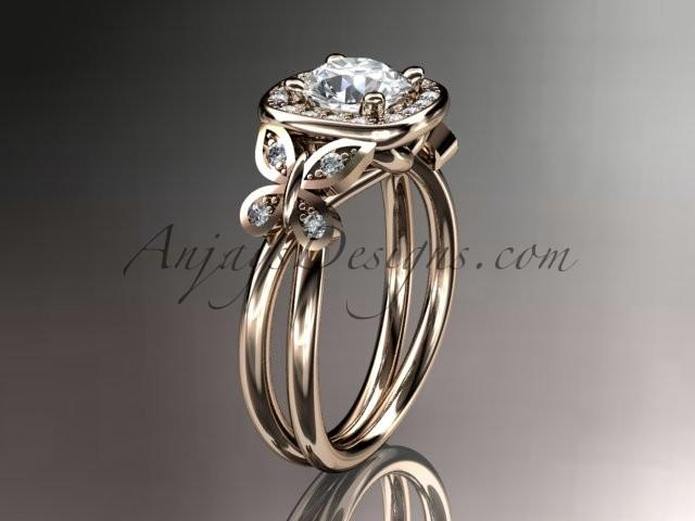 Wedding - 14kt rose gold diamond unique butterfly engagement ring, wedding ring ADLR330
