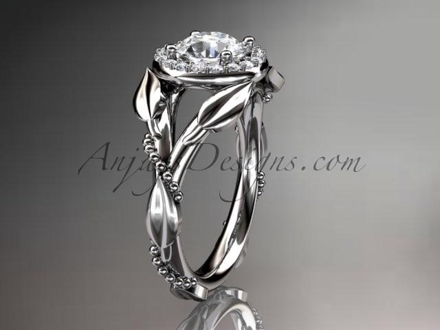 Spring Collection Unique Diamond Engagement Rings Sets Birthstone 14kt White Gold Leaf And Vine Wedding Ring