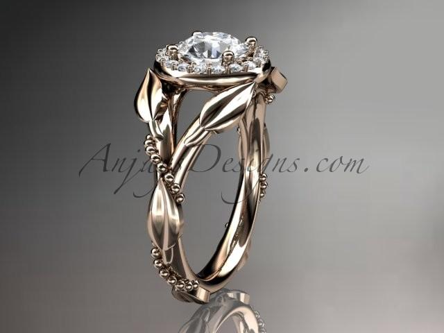 14kt Rose Gold Diamond Leaf And Vine Wedding Ring Engagement With A Forever Brilliant Moissanite Center Stone Adlr328