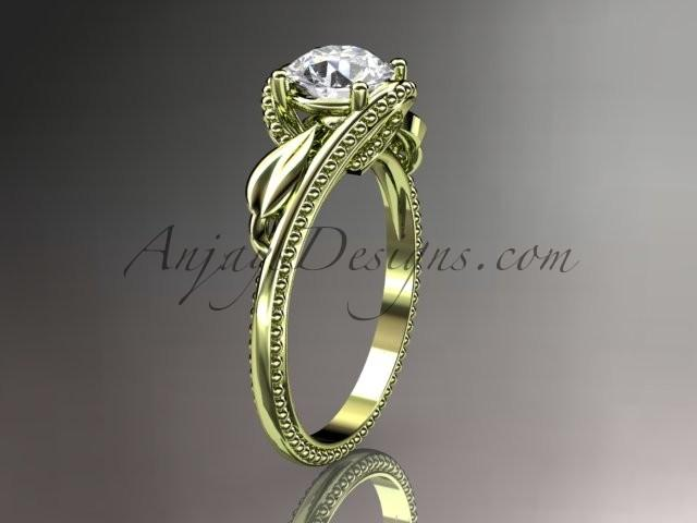 Wedding - Unique 14kt yellow gold engagement ring ADLR322