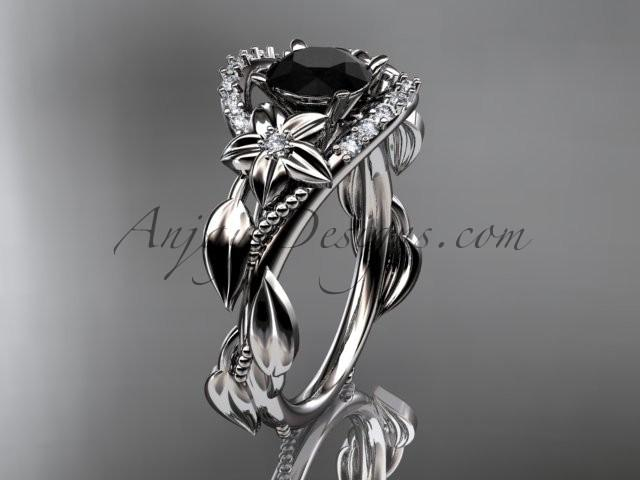 Boda - 14kt white gold diamond unique engagement ring, wedding ring with a Black Diamond center stone ADLR326