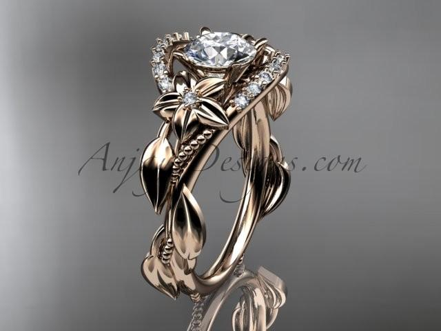 """Mariage - 14kt rose gold diamond unique engagement ring, wedding ring with a """"Forever Brilliant"""" Moissanite center stone ADLR326"""