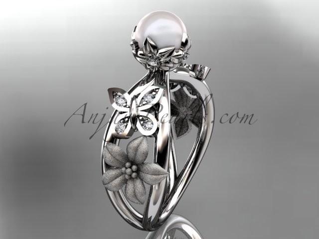 Wedding - http://www.anjayspearls.com/platinum-diamond-pearl-unique-engagement-ring-wedding-ring-ap171.html#.Va-cJ_mqpBc