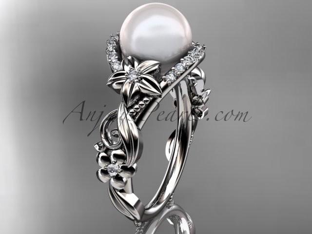 Wedding - 14kt white gold diamond pearl unique engagement ring AP211