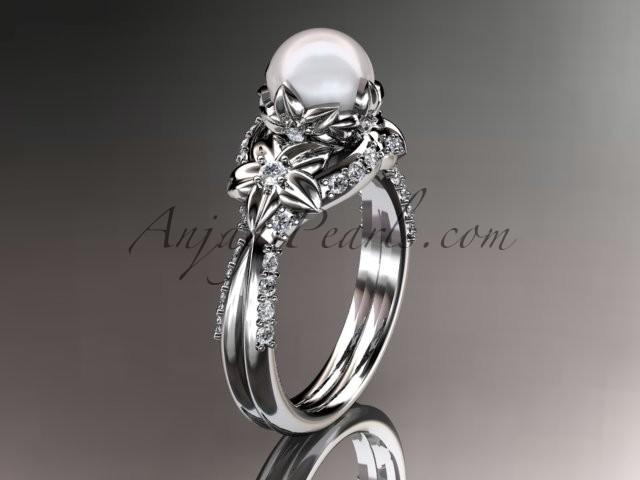 Свадьба - 14kt white gold diamond pearl unique engagement ring, wedding ring AP220