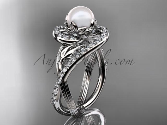 Wedding - 14kt white gold diamond pearl unique engagement ring AP222