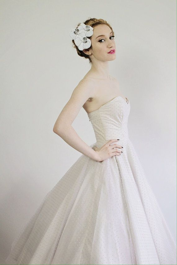 Pink Swiss Dot Tulle Wedding Dress With Sweetheart Neckline \