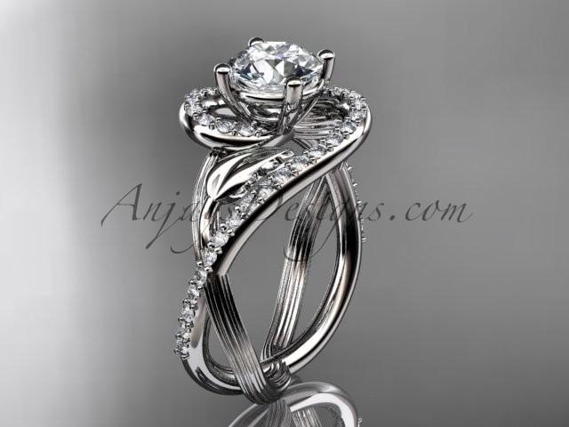 Boda - Unique platinum diamond leaf and vine wedding ring, engagement ring ADLR222