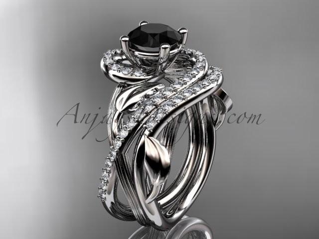 زفاف - Unique platinum diamond leaf and vine wedding set, engagement set with a Black Diamond center stone ADLR222