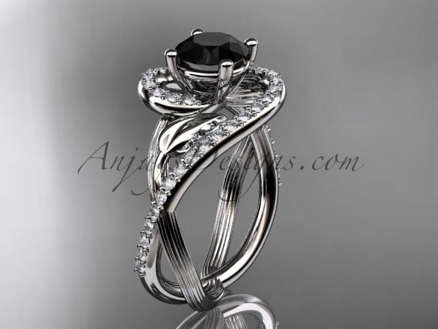Свадьба - Unique Platinum diamond leaf and vine wedding ring, engagement ring with a Black Diamond center stone ADLR222