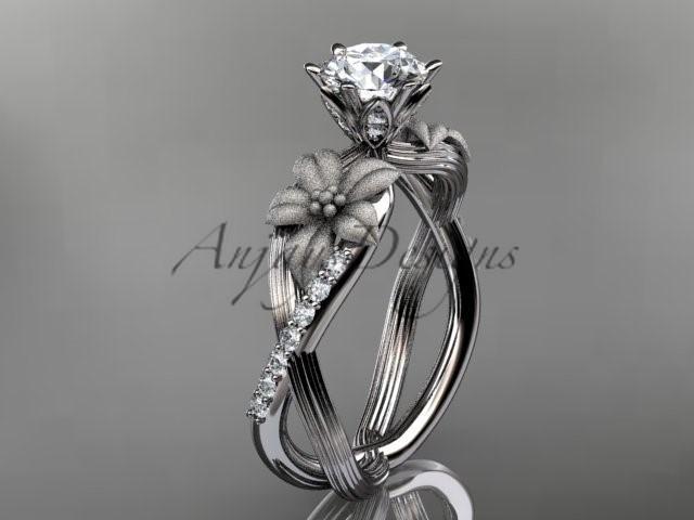 """زفاف - Unique 14kt white gold diamond flower, leaf and vine wedding ring, engagement ring with a """"Forever Brilliant"""" Moissanite center stone ADLR221"""
