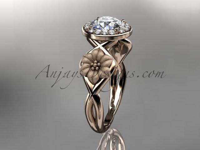 "Mariage - Unique 14kt rose gold diamond flower wedding ring, engagement ring with a ""Forever Brilliant"" Moissanite center stone ADLR219"