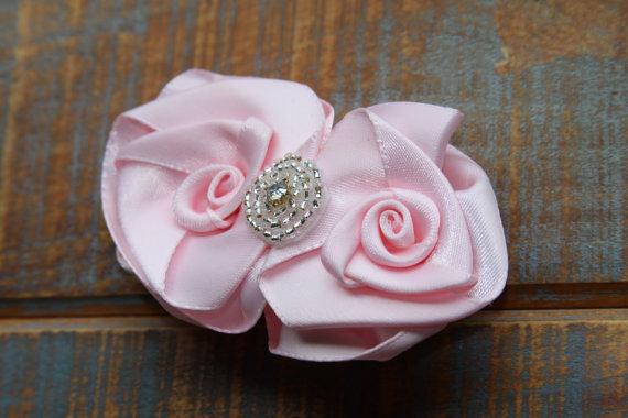 Mariage - Barrette, Hair piece, Wedding accessory, Bridal accessory, Little girls hair piece, Flower girl accessory, Light Pink hair piece