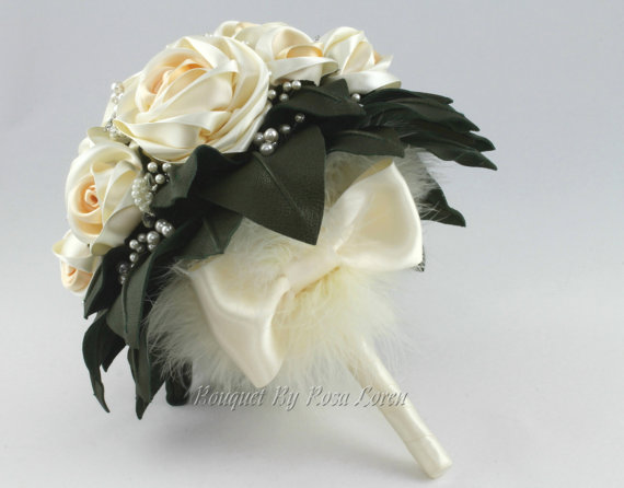 Wedding - Cream Wedding Bouquet, Cream Bridal Bouquet, Cream Bouquet