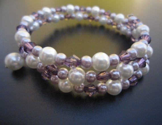 Mariage - Pearl Bridesmaid Bracelet Bridal Swarovski Crystals Cuff Memory Wire Wedding Jewelry Color Options Milla
