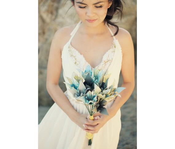 Wedding - One Dozen Recycled Atlas Long Stem Origami Lilies - Map Bouquet - Hostess Gift Birthday Anniversary Wedding