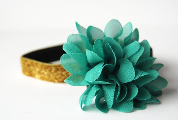 Свадьба - Emerald Green Chiffon Flower Dog Collar Attachment
