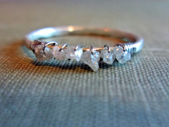Raw Diamond Engagement Ring Rough Uncut Diamond Wedding Band
