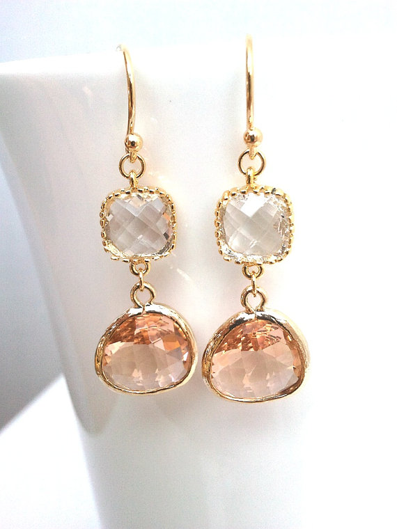 Mariage - Peach earrings, Clear Wedding Earrings,Champagne Drop Earrings, Peach Pink Dangle, Glass Earrings, bridesmaid gifts,bridal earrings