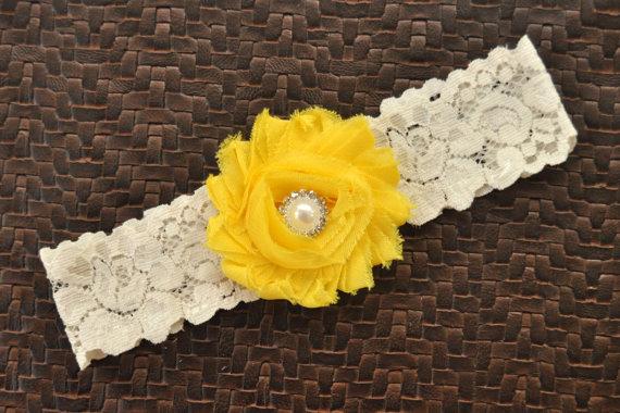 Wedding - Wedding Garter, Bridal Garter, Yellow Wedding Garter, Yellow Bridal Garter, Ivory Lace Garter, Yellow Wedding Garter Belt, Bright Yellow