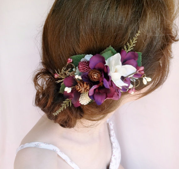 Свадьба - eggplant wedding hair accessories, bridal hairpiece, purple floral hair accessory, floral hair clip, aubergine, rustic bridal headpiece