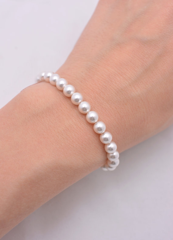 Swarovski Pearl Bracelet Bridesmaid Dainty Small 6mm Bridal 0258