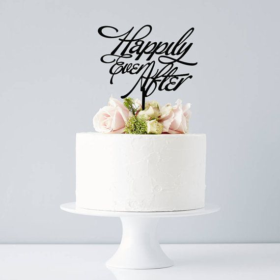 Свадьба - Elegant 'Happily Ever After' Wedding Cake Topper