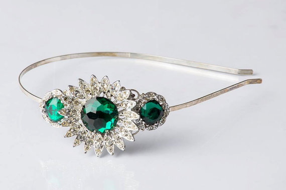 Mariage - ON SALE Side Tiara - Christmas Headband - Adult Headband - Vintage Jewelry - Emerald Wedding - Bridal Headband - Christmas Gift for Women