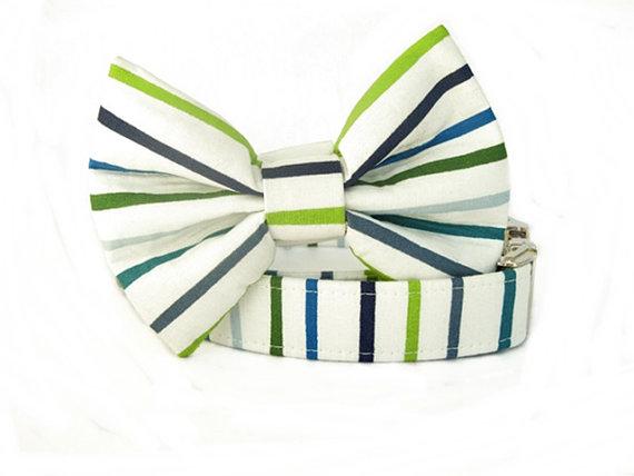 Свадьба - Striped Bow Tie Dog Collar  with Nickel Hardware - Cape Cod Stripes