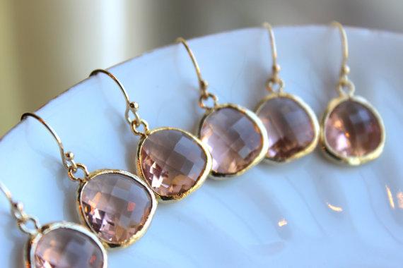 Mariage - 15% OFF SET OF 6 Wedding Jewelry Champagne Blush Earrings Gold Peach Pink - Blush Wedding Earrings Bridal Earrings Pink Bridesmaid Earrings